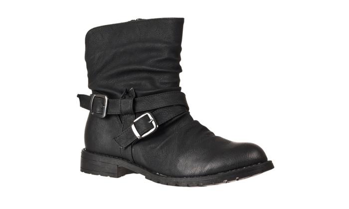 Riverberry Women's 'Kacy' Mid-calf Strappy Fashion Boots, Black