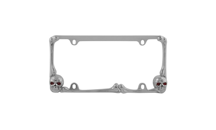 Red LED Skull Lighted Chrome License Plate Frame | Groupon