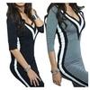 Women Casual Stripe Printed 3/4 Sleeve Slim Fit Sweatshirt Dress