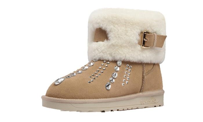 DPN Women's Winter Retro Genuine Leather Snow Boots