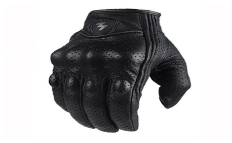 Leather Full Finger Black Motorcycle Gloves bc22a635-835d-41dc-80b9-4b1e9a486068