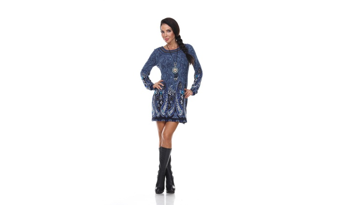 Blue-N860 Sandrine Embroidered Sweater Dress with a Matching Necklace