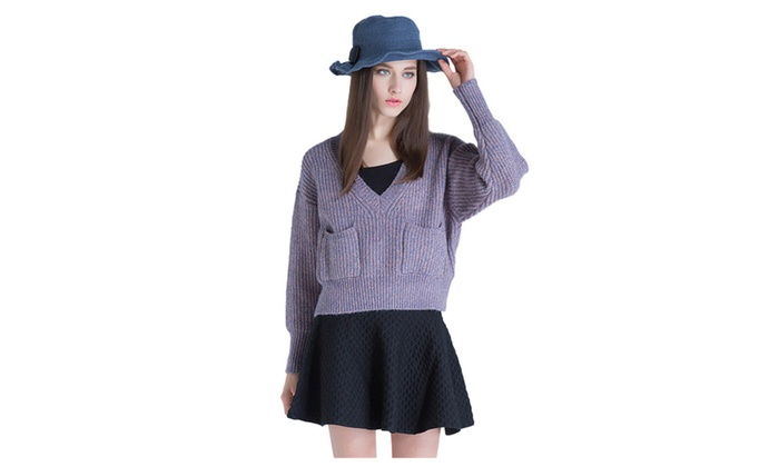 Women's V Neck Loose Pullover Short Knit Sweater