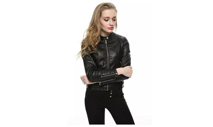 Women's Long Sleeve Crewneck Moto Crop Jackets Coat With Zipper