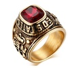 Vintage Eagle Pattern Gold-Color Stainless Steel Ring