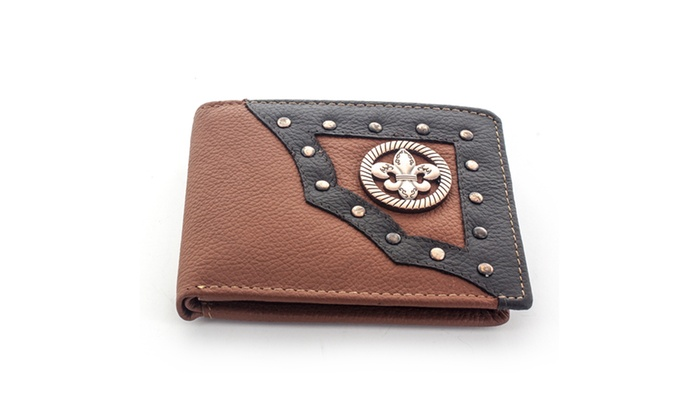 Faddism Men's Leather Bifold Wallet WLT-MC482 in Brown