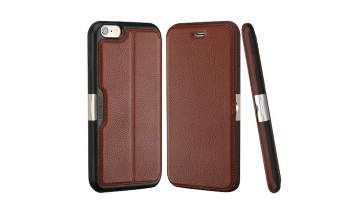 Groupon Goods: Insten Folio Leather Fabric Case w card slot For iPhone 6 6s Brown BLK