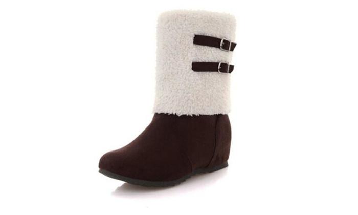 Women's Fashion Round Toe Hidden Heel Mid Calf Snow Boots
