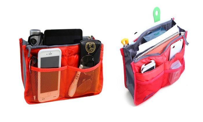 New Expandable 13 Pocket Handbag Insert Purse Organizer with Handles