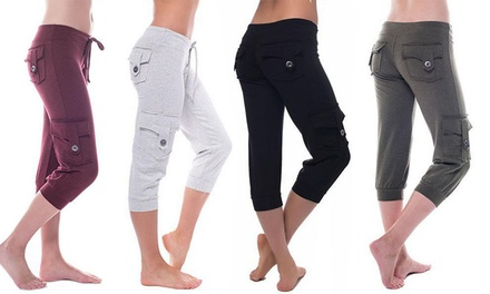 Women Cropped Capri Pants Casual Stretch Tapered Trousers Calf-length Pants