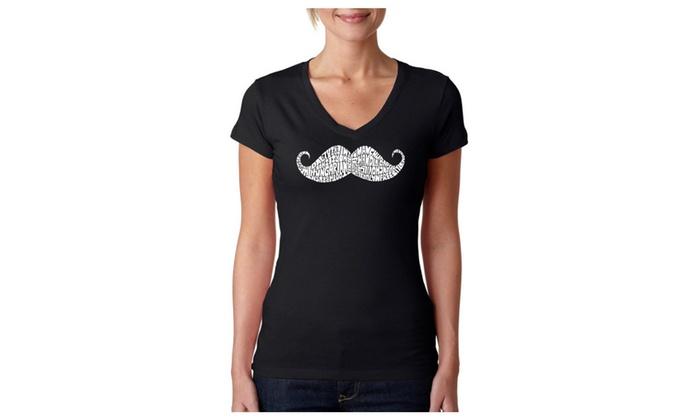 Women's V-Neck T-Shirt - WAYS TO STYLE A MOUSTACHE