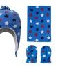 Boys Girls Multi-Patterned Sherpa Lined Beanie, Scarf & Gloves Set