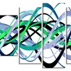 Green Expression Helix -  Abstract  Art - 60x32 - 5 Panels
