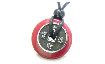 Amulet Lucky Coin Charm Donut Protection Powers Antiqued Stainless Steel Pendant on Adjustable Cord Necklace