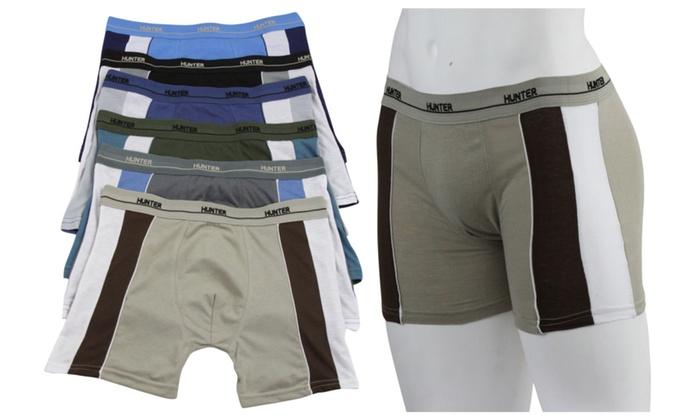 (6-Pack) Men's Cotton Boxer Briefs with Side Contrast Panel - TBIS