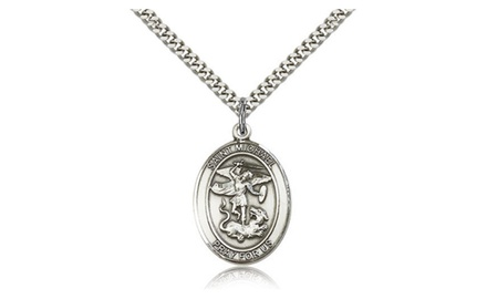 IceCarats Designer Jewelry Sterling Silver St. Michael The Archangel 1 X 3/4 Inch Necklace
