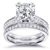 Forever Cushion Moissanite and Diamond Bridal Set 21/3 CTW in 14k Gold