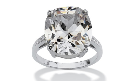 33.09 TCW Faceted Cubic Zirconia Sterling Silver Ring 539c20bf-4c5b-4b96-8c17-b408dac3d8f7
