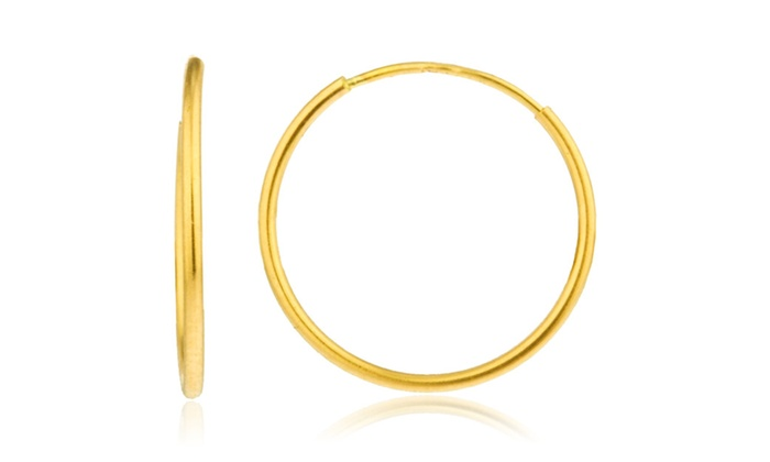 15cf9e6e3 14k Yellow Gold 1mm Endless Hoop Earrings - Available in Various Sizes