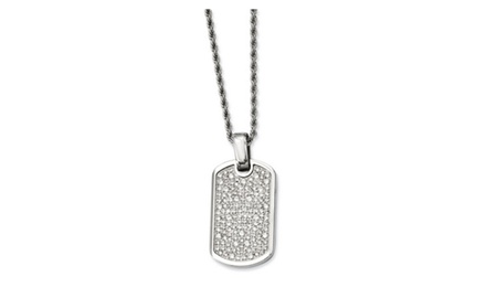 IceCarats Designer Jewelry Stainless Steel Fancy CZ Dog Tag Pendant Necklace