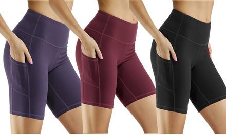 Women's High Waist Yoga Shorts Compression Running Bike Shorts Side Pockets