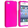 Insten Snap-on Rubber Coated Case For Apple iPhone 4 / 4S, Hot Pink