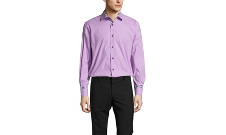 BRIO MILANO Solid Sport Shirt with Floral Trim