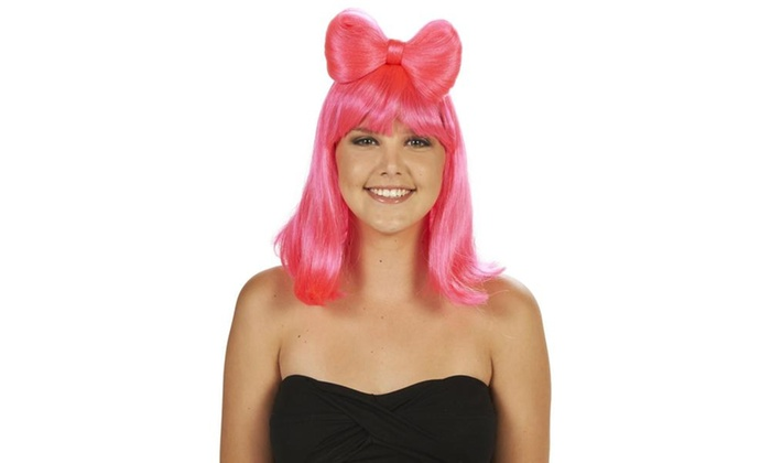 Pink with Built-In Bow Adult Wig