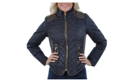 Women's Chic Two-Tone Quilted Zip-Up Jacket