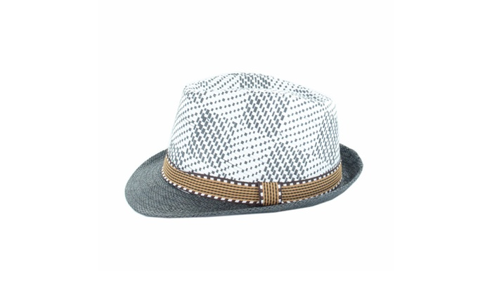 Faddism Fashion Straw Stingy Brim Plaid Fedora Hat