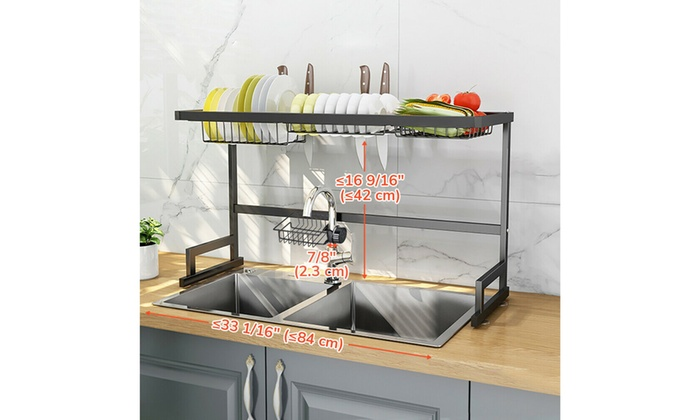 2//3 Tier Dish Drying Rack Over Sink Kitchen Cutlery Drainer Holder Space Saver