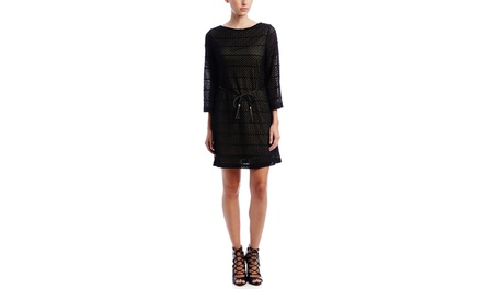 SHARAGANO Petite Long Sleeve Fit n Flare Dress with Belt