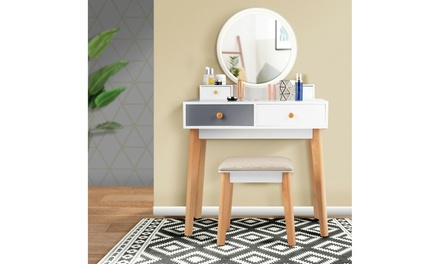 Costway Vanity Table Set Lighting Modes MakeUp Table & Stool Set Jewelry Divider
