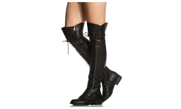 Over The Knee Combat Boots - Cr Boot