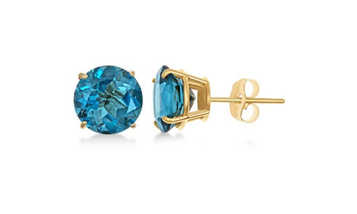 6b383e0cc De Couer 14k Yellow Gold 5/8ct T.W. Natural Blue Zircon Stud ...