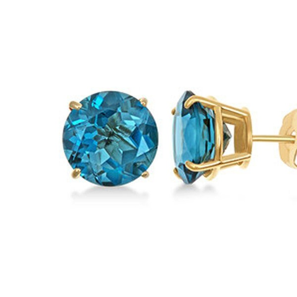 fe14afc32 De Couer 14k Yellow Gold 5/8ct T.W. Natural Blue Zircon Stud Earrings |  Groupon