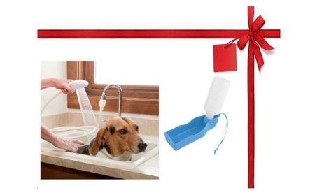 Hair Dog Pet Shower Spray Hose Bath Tub Sink Faucet +1 Water Bowl Gift