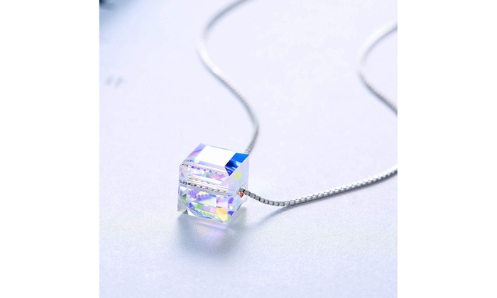 e4a215ce2 Aurora Borealis Cube Pendant Necklace With Swarovski Crystals Clear Crystal  Crystal Sterling Silver