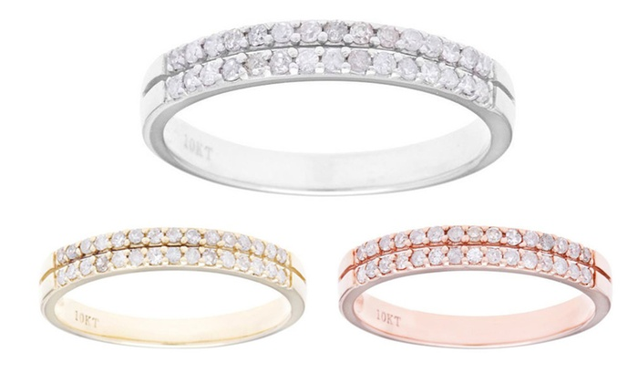 Designer Diamonds 10k Gold 1 3ct Double Row Diamond Wedding Band G H