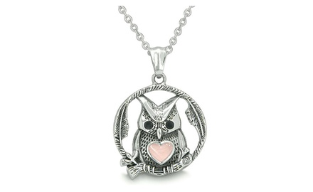 Owl and Cute Heart Amulet Positive Woods Energy Forces Magic Circle Medallion Pendant Necklace