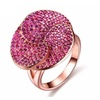 Rose Gold Color Cubic Zircon Flower Ring for Women