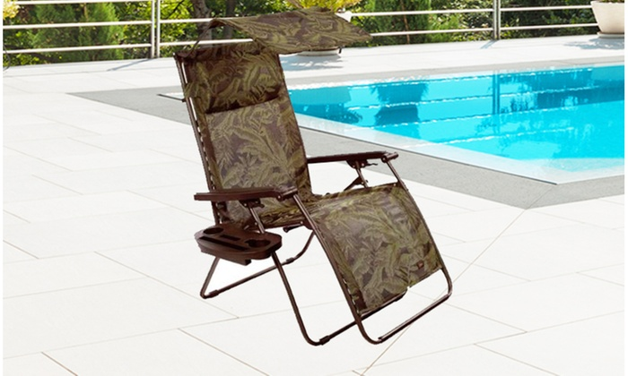 Fabulous Bliss Hammocks Deluxe Xl Gravity Free Recliner With Canopy Tray Fern Jacquard Squirreltailoven Fun Painted Chair Ideas Images Squirreltailovenorg