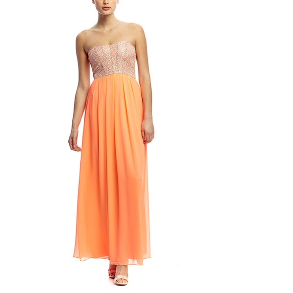 20bc79dd MINUET Strapless Sequin Top Maxi Dress with Pleated Skirt | Groupon