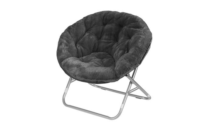 Fabulous Urban Shop Faux Fur Saucer Chair Black Pabps2019 Chair Design Images Pabps2019Com