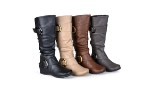 Journee Collection Womens Wide-Calf Slouch Buckle Knee-HighBoots