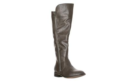 Riverberry Women's 'Clayton-12' Zipper Riding Knee High Boots, Gray