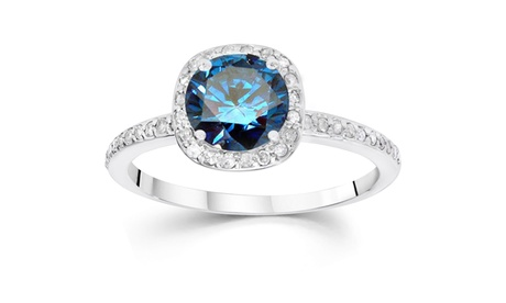 1 1/4 CT Blue Diamond Cushion Halo Engagement Ring 14K White Gold 9d3a1b15-d034-41c9-9c3f-5e7d3ae79ce6