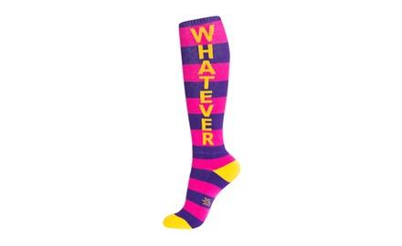 Whatever - Knee High Athletic Stripe Crew Socks - Unisex Adult Purple-Pink