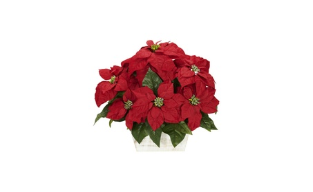 Nearly Natural Poinsettia Silk Flower Arrangement Planter/Vase 2e65d7bd-656a-409d-ab4b-58ad00475236