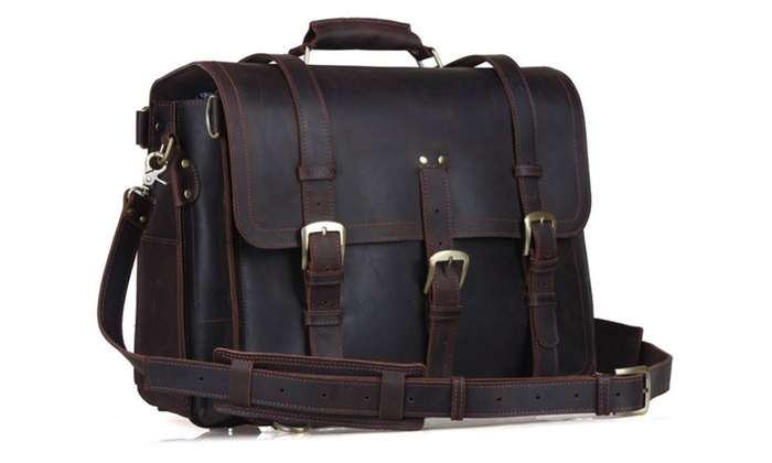 Men's Crazy Horse Leather Backpack Saddle Laptop Tote Bag